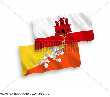 National Fabric Wave Flags Of Kingdom Of Bhutan And Gibraltar Isolated On White Background. 1 To 2 P