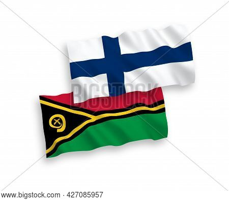 National Fabric Wave Flags Of Finland And Republic Of Vanuatu Isolated On White Background. 1 To 2 P