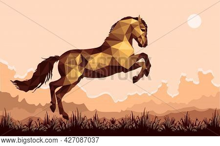 Galloping Horse In The Field, Vector Isolated Image In The Low Poly Style