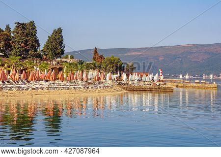 Summer Beach Vacation. Beautiful Mediterranean Landscape On Sunny Summer Morning.  Montenegro,  Adri