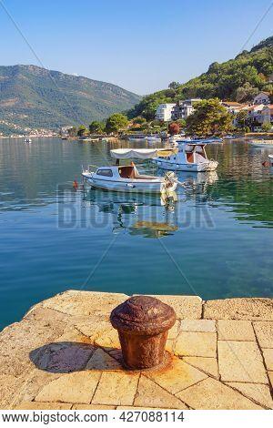 Beautiful Mediterranean Landscape On Sunny Summer Day. Montenegro, Adriatic Sea, Bay Of Kotor, Tivat