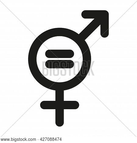 Gender Equality Logo Concept. Gender Symbol Simple Silhouette. Black Icon Isolated On White Backgrou