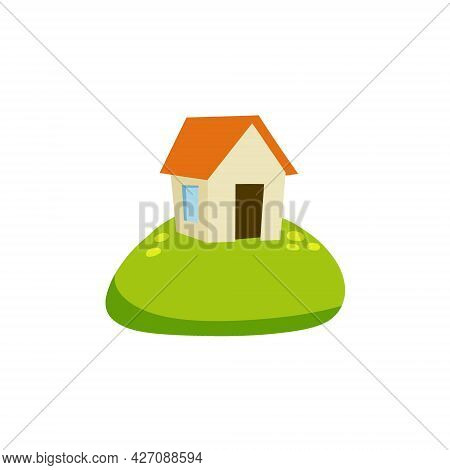 Village House. Rural White Building With Red Roof. Home On Green Hill. Country Landscape. Summer Sea