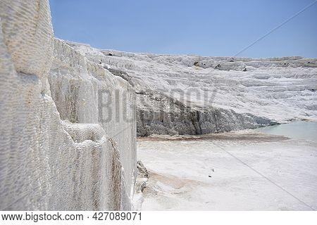 Deposits Of White Travertine On The Surface Of Rocks, Pamukkale, Turkey.