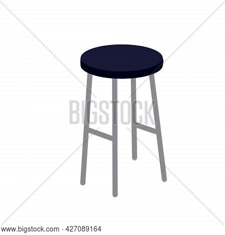 Stool. Kitchen Blue Chair Without Back. Isometric Furniture. Flat Illustration Isolated On White