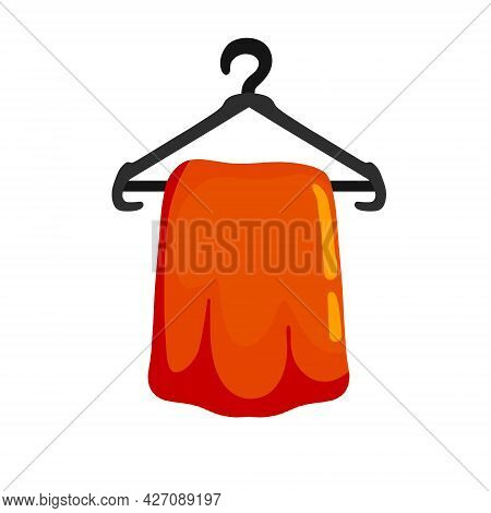 Clothes On Hanger. Decoration Of Wardrobe And Cloakroom. Flat Cartoon Illustration Isolated On White