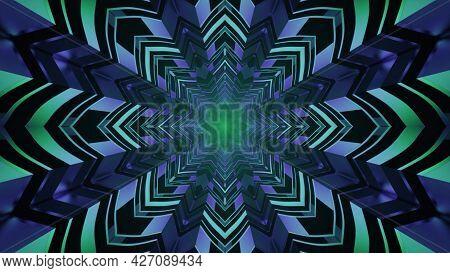 Star Shaped Tunnel With Neon Illumination 4k Uhd 3d Illustration