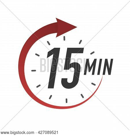 Icon 15 Minutes Timer Color Style Isolated On White Background. Clock, Stopwatch, Cooking Time Label