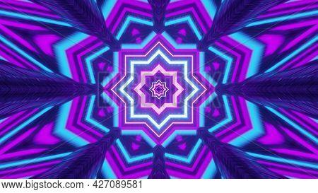 Glowing Geometric Flower Shaped Neon Ornament 4k Uhd 3d Illustration