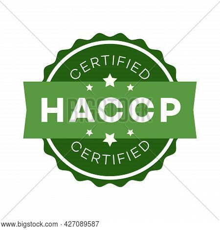 Haccp - Hazard Analysis Critical Control Points Certified Emblem Color Flat Style Isolated On White