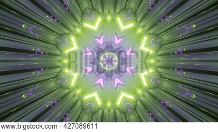 Magic Tunnel With Gleaming Geometric Pattern 4k Uhd 3d Illustration