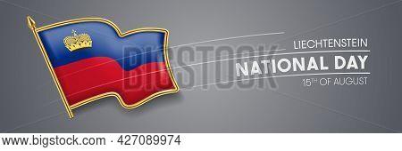 Liechtenstein National Day Vector Banner, Greeting Card.