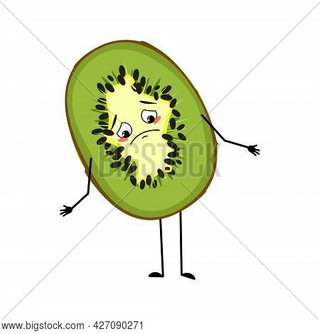 Cute Kiwi Character With Sad Emotions, Downcast Eyes, Depressing Face, Arms And Legs. Green Exotic T