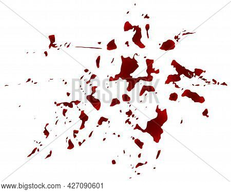 Blood Spatter, Realistic Texture Isolated On White Background. Red Blot With Splashes, Spilled Paint