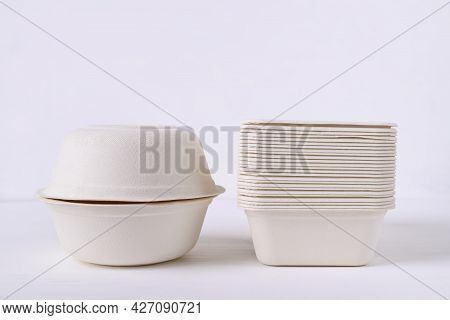Biodegradable Bowl Made From Natural Fiber On White Background, Eco Friendly And Sustainability Conc