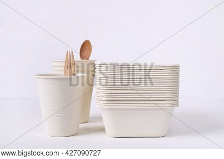 Biodegradable Bowl And Coffee Cup Made From Natural Fiber On White Background, Eco Friendly And Sust
