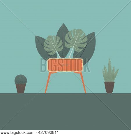 Stylized Nightstand With Plants In The Background. Colorful Flat Illustration. Element For Design.