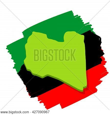 Map And Flag Of Libya. Borders Of A State In North Africa. Green Area. Flat Cartoon