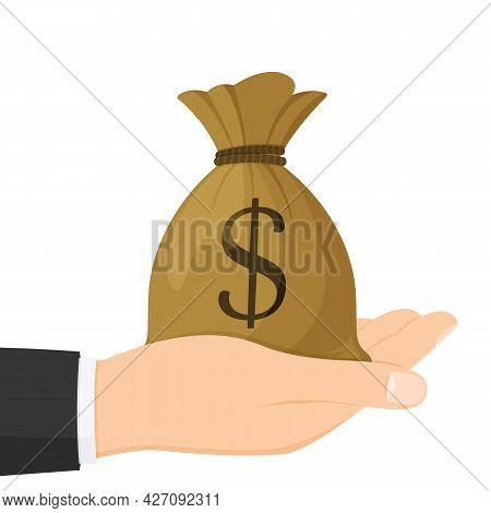 Hand Holding Dollar Money Bag , Isolated On White Background , Flat Simple Cartoon Illustration. Vec