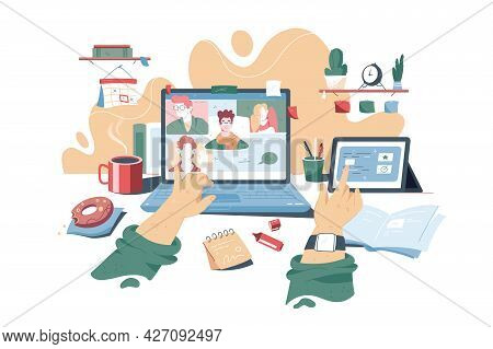 Distance Learning And Online Lectures Vector Illustration. Students Listening To Lecturer Online Usi