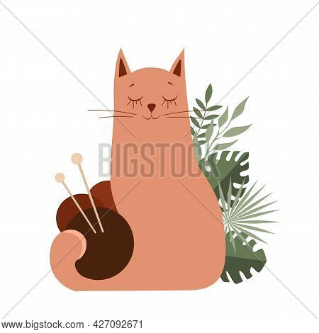 Vector Stock Illustration Of A Cat With Balls Of Yarn For Knitting