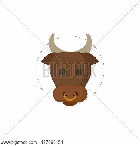 Bull Head Clipart. Bull Head Isolated Simple Flat Vector Clipart