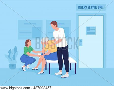 Mourning Relatives In Hospital Flat Color Vector Illustration. Patient Facing Stress. Critical Care