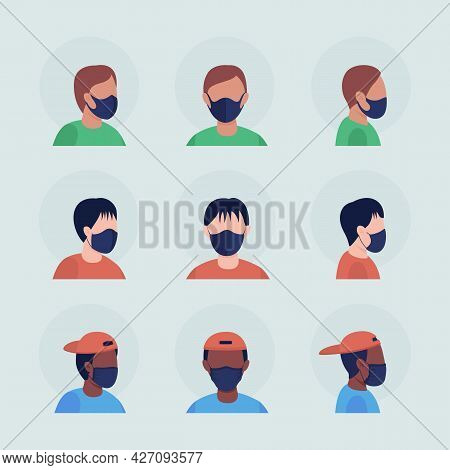 Boys With Black Masks Semi Flat Color Vector Character Avatar Set. Portrait With Respirator From Fro