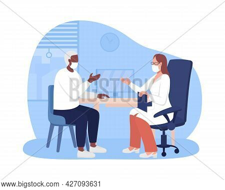Personal Physician Appointment 2d Vector Isolated Illustration. Receiving Healthcare Service Flat Ch