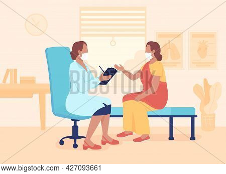 Physician Appointment Flat Color Vector Illustration. Providing Diagnosis And Treatment Plan. Doctor