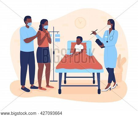 Hospital Stay For Kid 2d Vector Isolated Illustration. Parents Listening Physician About Son Treatme