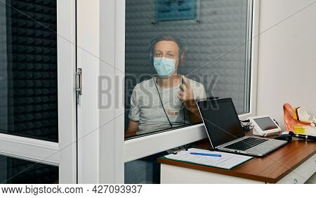 Adult Man Getting A Hearing Test At Audiology Center. Audiometry, Hearing Check Up
