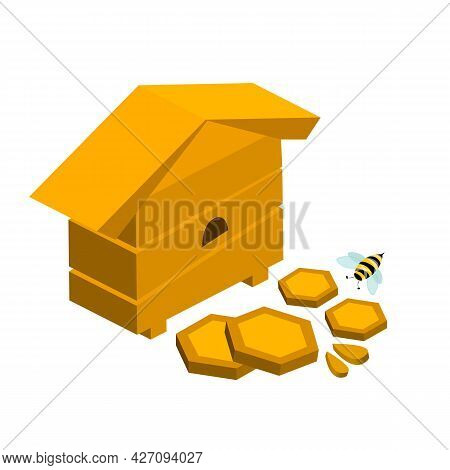 Bee Hive With Honeycombs And Bees Stock Vector Illustration In 3d Style
