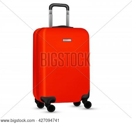 Suitcase Isolated On White. Set Of Red Travel Baggage Bag Or Plastic Luggage On White Background. Su