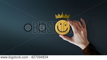 Customer Loyalty Concept. Client Experiences. Happy Customer Giving Positive Services Rating For Sat