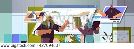 Arab Businesspeople Analyzing Financial Statistic Data With Colleagues During Video Call Online Comm
