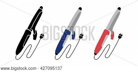 Hair Curling Iron Flat Icon. Hairdressing Equipment Sketch. Professional Tool. Vector Illustration.