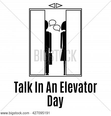 Talk In An Elevator Day, Silhouette Of People Of Different Genders Talking In The Elevator Vector Il