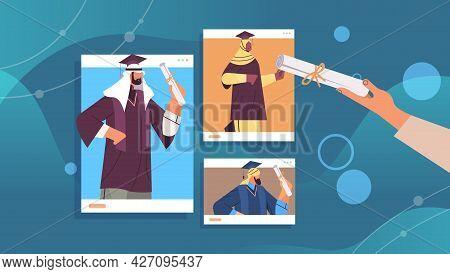 Arab Graduated Students In Web Browser Windows Arabic Graduates Celebrating Academic Diploma Degree