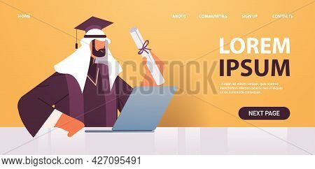 Graduated Student With Certificate Using Laptop Graduate Celebrating Academic Diploma Degree Educati