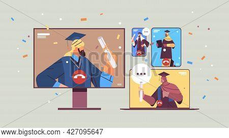 Arab Graduated Students Discussing During Video Call Graduates Celebrating Academic Diploma Degree