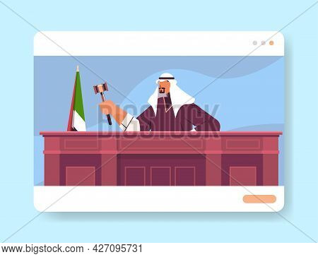 Arab Judge Lawyer Procurator In Uniform With Gavel Sitting At Workplace Online Court Session Law Pro