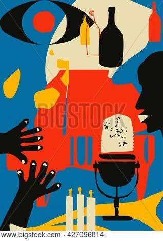 Musical Promotional Poster With Musical Instrument Colorful Vector Illustration. Piano And Microphon