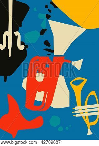 Musical Promotional Poster With Musical Instruments Colorful Vector Illustration. Violoncello, Eupho