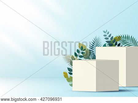 3d Realistic White Cube On Soft Blue Backdrop For Product Display With Tropical Leaves Decoration. P
