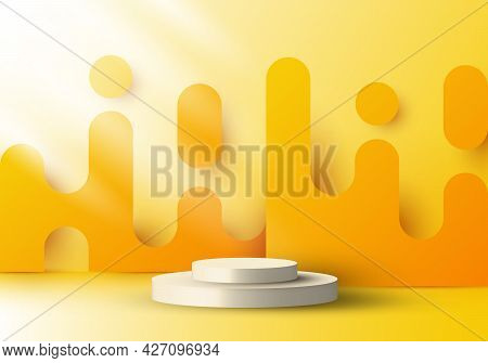 3d Realistic Display Platform With Yellow Rounded Lines Backdrop Graphic And Lighting. You Can Use F