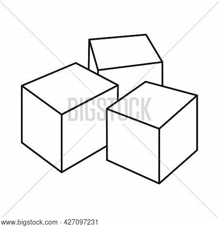 Isolated Object Of Cube And Sugar Sign. Web Element Of Cube And Ingredient Vector Icon For Stock.