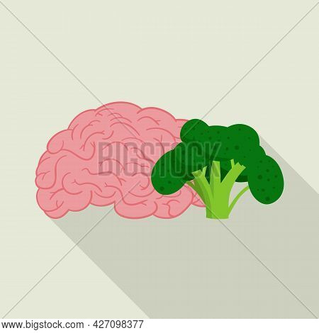 Vector Illustration Of Broccoli And Brain Icon. Collection Of Broccoli And Benefit Stock Symbol For