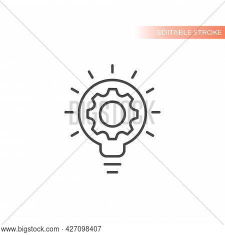 Lightbulb And Gear, Idea Concept Icon. Light Bulb And Cogwheel Symbol, Editable Stroke.