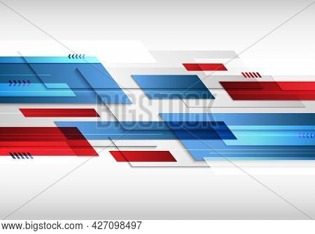 Abstract Technology Futuristic Geometric Blue And Red Color Shiny Motion Background. Template With H